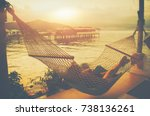 lady sleep enjoying hammock... | Shutterstock . vector #738136261