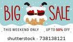 christmas sale. hand drawn...   Shutterstock .eps vector #738138121