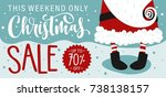 christmas sale banner with... | Shutterstock .eps vector #738138157