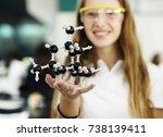 student girl holding molecule... | Shutterstock . vector #738139411