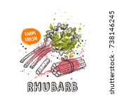 rhubarb isolated set. hand... | Shutterstock .eps vector #738146245
