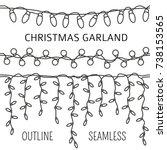 christmas light garlands set.... | Shutterstock .eps vector #738153565