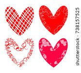 vector hearts set for wedding... | Shutterstock .eps vector #738157525