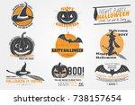 happy halloween set. invitation ...   Shutterstock .eps vector #738157654