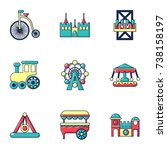 entertainment park icons set.... | Shutterstock . vector #738158197
