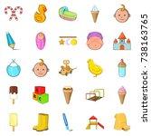 baby icons set. cartoon set of... | Shutterstock . vector #738163765