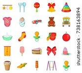 kid icons set. cartoon set of... | Shutterstock . vector #738163894
