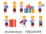set of medieval prince... | Shutterstock .eps vector #738164359