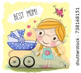 greeting card best mom with... | Shutterstock . vector #738168151