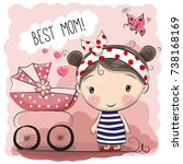 greeting card best mom with... | Shutterstock . vector #738168169