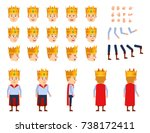 young prince with crown... | Shutterstock .eps vector #738172411