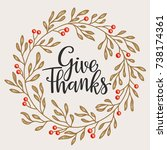 give thanks season hand drawn... | Shutterstock .eps vector #738174361