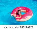 girl on inflatable ring in... | Shutterstock . vector #738176221