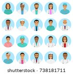 doctors and nurses characters... | Shutterstock . vector #738181711