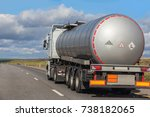 big gas tank truck goes on... | Shutterstock . vector #738182065