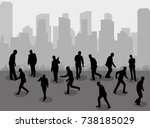 silhouette people group stand... | Shutterstock .eps vector #738185029