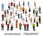 isometric people stand  vector  ... | Shutterstock .eps vector #738185047