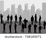 silhouette people group stand... | Shutterstock .eps vector #738185071