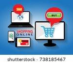 shopping online by smartphone... | Shutterstock .eps vector #738185467