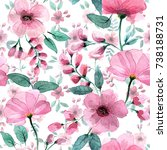 delicate pink flowers in the... | Shutterstock . vector #738188731