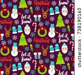 dark christmas seamless pattern.... | Shutterstock .eps vector #738190165