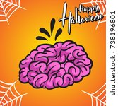 halloween greeting card and... | Shutterstock .eps vector #738196801