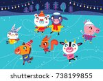 christmas landscape with cute... | Shutterstock .eps vector #738199855