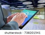 businessman touching tablet...   Shutterstock . vector #738201541