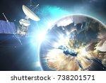 3d solar powered satellite... | Shutterstock . vector #738201571