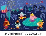 christmas landscape with cute... | Shutterstock .eps vector #738201574