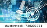 3d image of modern solar power...   Shutterstock . vector #738203731