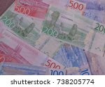 swedish krona banknotes money ... | Shutterstock . vector #738205774
