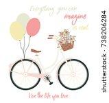 romantic vector bicycle | Shutterstock .eps vector #738206284