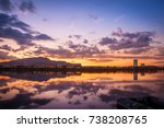 beautiful river and building... | Shutterstock . vector #738208765