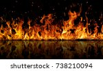 The Texture Of Fire On A Black...