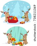 reindeer with christmas present | Shutterstock .eps vector #738211369