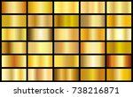 set of gold realistic metal... | Shutterstock . vector #738216871