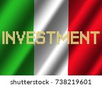 investment text euro coins on... | Shutterstock . vector #738219601