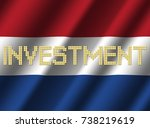 investment text euro coins on... | Shutterstock . vector #738219619