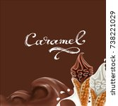 liquid chocolate  caramel or... | Shutterstock .eps vector #738221029