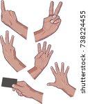 hands symbolizing numerals   Shutterstock .eps vector #738224455