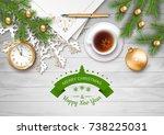 christmas vector top view... | Shutterstock .eps vector #738225031