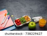 lunch box with vegetables for a ... | Shutterstock . vector #738229627