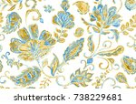paisley watercolor floral... | Shutterstock . vector #738229681