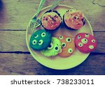 colorful cookies for halloween... | Shutterstock . vector #738233011