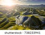 aerial hillside solar... | Shutterstock . vector #738233941