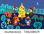 christmas landscape with cute... | Shutterstock .eps vector #738238429