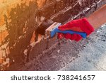roofer covered brick wall ... | Shutterstock . vector #738241657