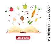 open recipe book with pieces... | Shutterstock .eps vector #738243037