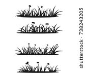 set of grass and flowers... | Shutterstock .eps vector #738243205